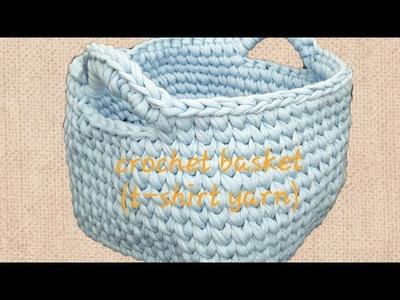 Easy crochet basket pattern t-shirt yarn