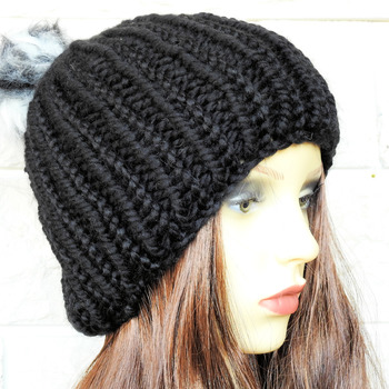 Hand Knitted Black Winter Hat With Multicoloured Pom Pom - Free Shipping