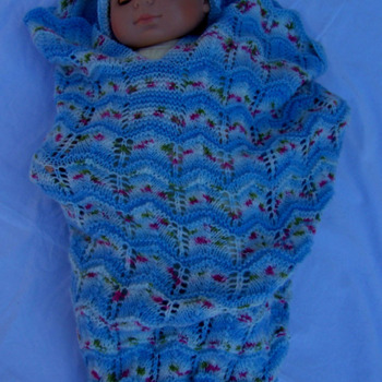 Hand Knitted Blue Baby Papoose And Hat Set - Free Shipping