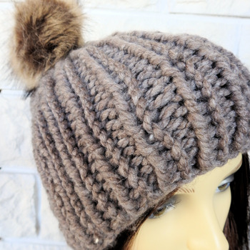 Hand Knitted Brown Winter Hat With Brown Pom Pom - Free Shipping