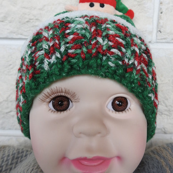 Hand Knitted Child's Green, Red And White Winter Hat With A Christmas Elf On Top - Free Shipping