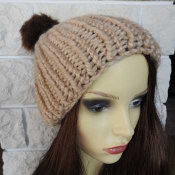 Hand Knitted Light Brown Winter Hat With Brown Pom Pom - Free Shipping