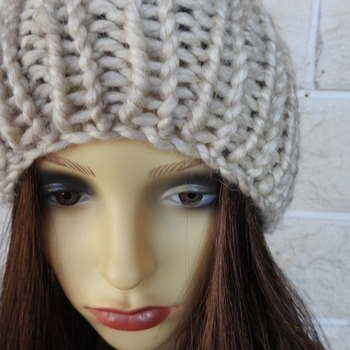 Hand Knitted Light Grey Winter Hat With Multicoloured Pom Pom - Free Shipping