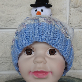 Hand Knitted Medium Child's Multicoloured Winter Hat With A Snowman - Free Shipping