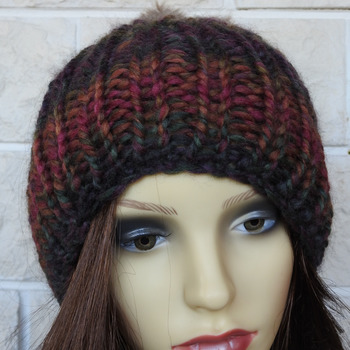 Hand Knitted Women's Dark Multicoloured Ribbed Winter Hat With A Light Brown Pom Pom - Free Shipping