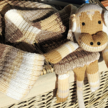 Handmade Children's Monkey Scarf In Brown Colours - Free Shipping