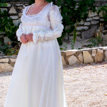 Handmade Cream Renaissance Style Dress - Free Shipping