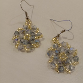 Handmade Crystal Glass Flower Earrings