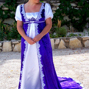 Handmade White Dress And Purple Cape - Free Shipping