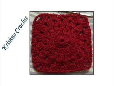 How To Crochet a Granny Square - Beginners Tutorial & Basic Pattern By Krishna Crochet