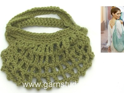How to crochet after charts to the bag in DROPS 202-40