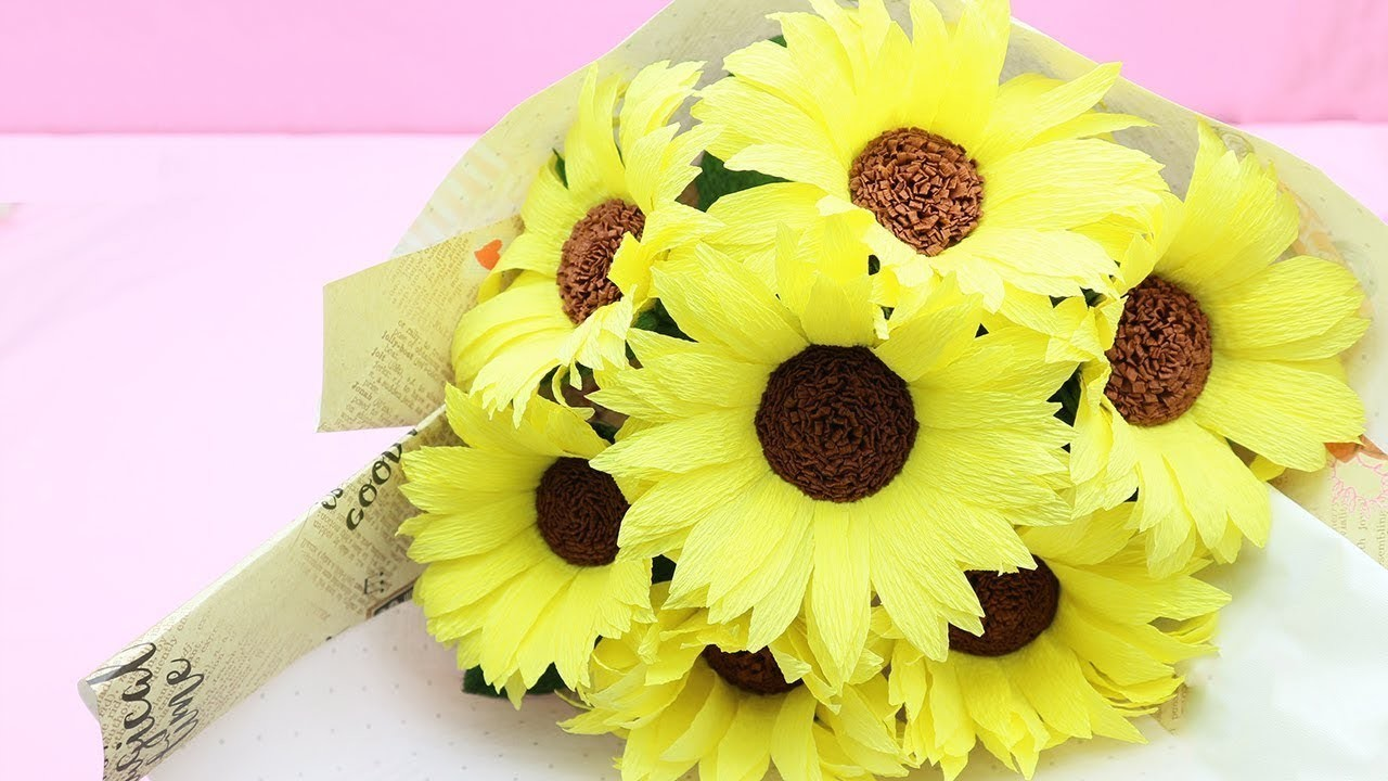 How to Make Sunflower Paper Flower Tutorial From Crepe Paper - DIY Paper Crafts