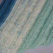 Knitted Blues And Greens Triangular Ribbed Women's Shawl - FREE SHIPPING