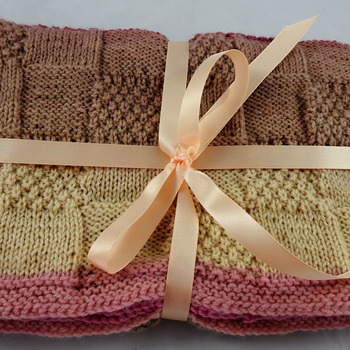 Knitted Soft Patterned Baby Blanket In Pinks And Browns - FREE SHIPPING
