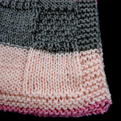 Knitted Striped Patterned Baby Blanket In Various Shades Of Pink And Grey - FREE SHIPPING