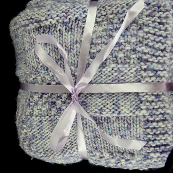 Knitted Thick Lilac Random Patterned Baby Blanket - FREE SHIPPING