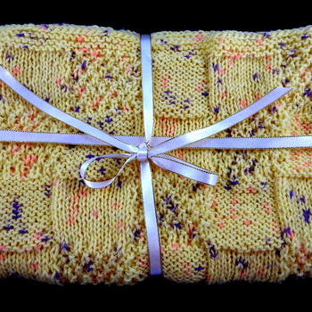 Knitted Yellow With Random Flecks Of Colours Baby Blanket - FREE SHIPPING