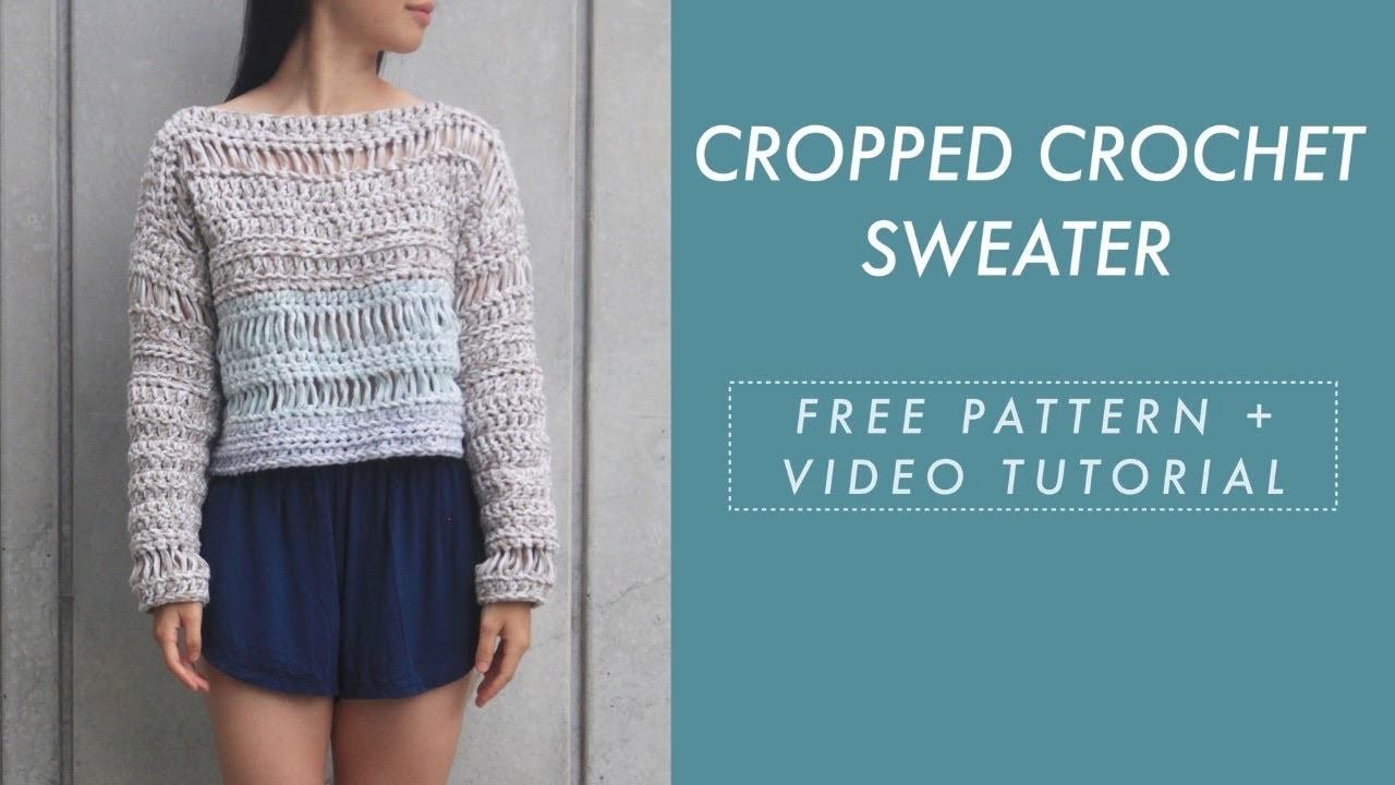 Sand Dune Cropped Crochet Sweater - free crochet pattern