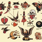counted Cross Stitch Pattern born live died free tatoo 377x268 stitches CH1734