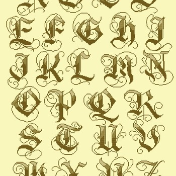 Counted cross stitch pattern old gothic alphabet high 65 ABC 262*356 stitches CH1681