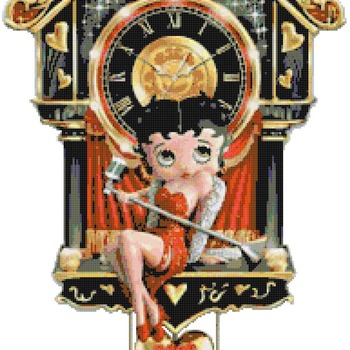 counted cross Stitch Pattern betty boop cuckoo clock 190*334 stitches CH2160