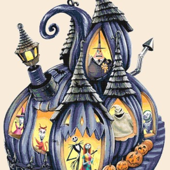 counted Cross Stitch Pattern nightmare before christmas 367x220 stitches CH2258