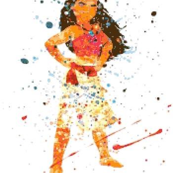 counted Cross Stitch Pattern moana princess watercolor 172*213 stitches CH2330