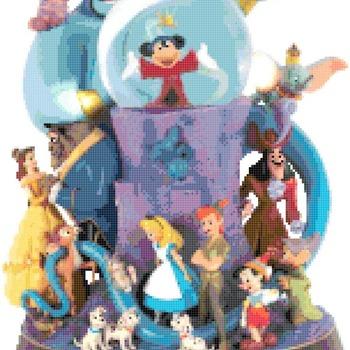 counted cross stitch pattern mickey glitter globe pdf 150x203 stitches CH2327