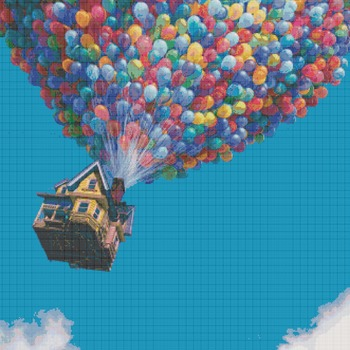 counted cross stitch pattern stitch up house pixar 331*409 stitches CH930