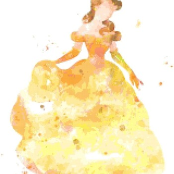 counted Cross Stitch Pattern belle princess watercolor 172*213 stitches CH2331