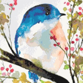 counted cross stitch pattern watercolor bird 220*165 stitches CH2192