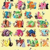 counted cross stitch pattern alphabet disney characters 547*753 stitches CH2025