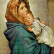 counted Cross Stitch Pattern madonna with little jesus 188*240 stitches CH1860