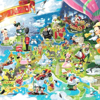 counted cross stitch pattern disney puzzle fantastic europe 496*344 stitches CH2283