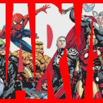 counted cross stitch pattern Marvel logo441*348 stitches CH546