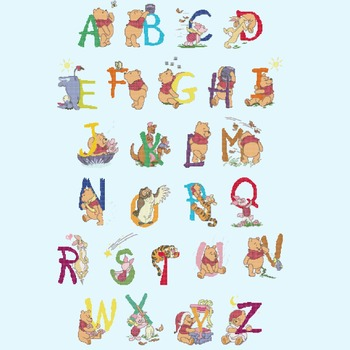 Counted cross stitch pattern alphabet high 65 winnie characters 330*504 stitches CH1839