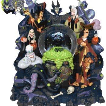 counted cross stitch pattern disney park villains glitter globe 246*267 stitches CH2181