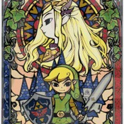 counted cross stitch pattern nintendo zelda  stained glass 220*329 stitches CH1056