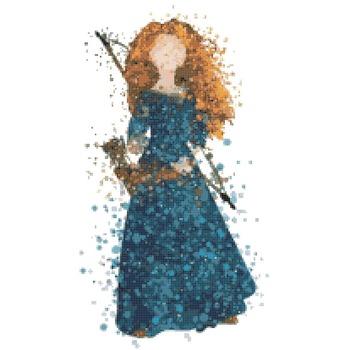 counted Cross Stitch Pattern merida princess watercolor 112*203 stitches CH1874