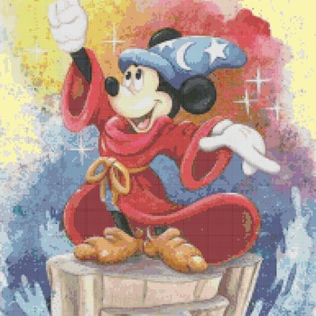 counted cross stitch pattern watercolor mickey fantasia 193*262 stitches BN1862