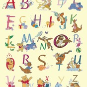Counted cross stitch pattern alphabet high 65 winnie characters 315*391 stitches CH1439