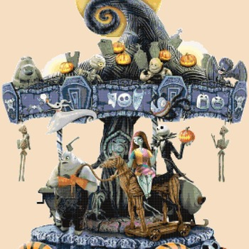 counted Cross Stitch Pattern nightmare before christmas skellington sally 272*394 stitches CH2257