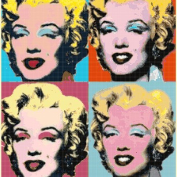 counted Cross Stitch Pattern marilyn monroe by warhol 220 * 276 stitches CH1315