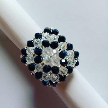 Handmade Black Crystal Square Ring Jewellery