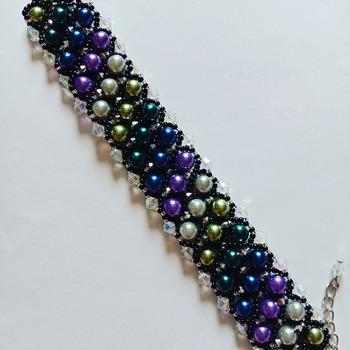 Handmade Multiple Colour Pearl Crystal 3 Strands Bracelet Jewellery