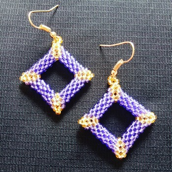Handmade Purple Gold Diamond Shape Earrings Jewellery