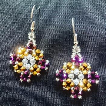 Handmade Purple Gold Tiny Diamond Shape Earrings Jewellery