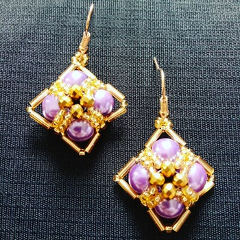 Handmade Purple Pearl Gold Diamond Shape Earrings Jewellery