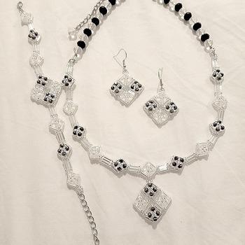 Handmade Silver Diamond Shape Necklace Bracelet Earrings Set Jewellery
