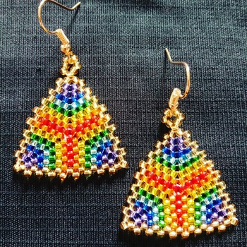 Handmade Triangle Rainbow Earrings Jewellery